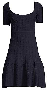 Herve Leger Women's Short Sleeve Jacquard A-Line Dress
