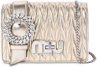 Miu Miu Med My Miu Buckle Metallic Leather Bag