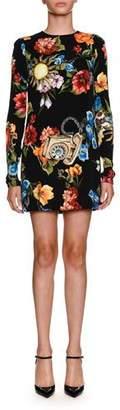 Dolce & Gabbana Floral Telephone-Print Long-Sleeve Charmeuse Cocktail Dress