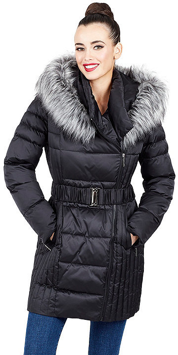 Betsey JohnsonBelted Faux Fur Trimmed Puffer Coat