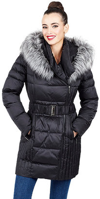 Belted Faux Fur Trimmed Puffer Coat $188 thestylecure.com