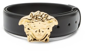 Versace Medusa Buckle Leather Belt - Mens - Black Gold