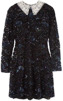 Ashish Wednesday Embellished Corded Lace Mini Dress - Black