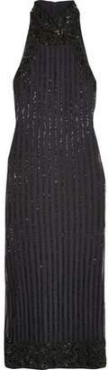 Ganni Beaded Tulle Turtleneck Midi Dress