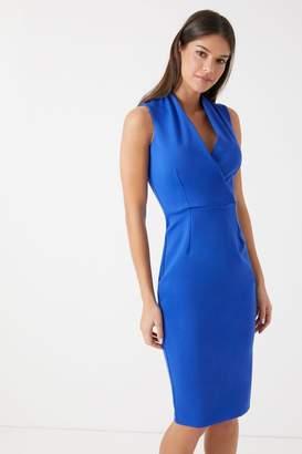 Closet Womens Sleeveless Wrap Pencil Dress - Blue