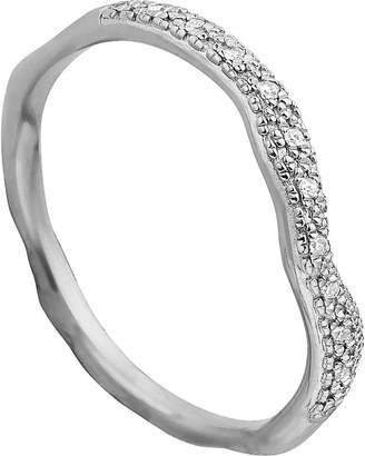 Monica Vinader Riva wave stacking sterling silver pavé diamond ring