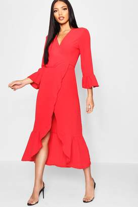 boohoo Wrap Front Ruffle Hem Long Sleeve Maxi Dress