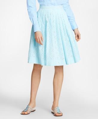 Brooks Brothers Cotton Eyelet Pleated Skirt