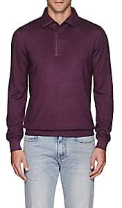 Barneys New York Men's Wool Polo Sweater - Wine