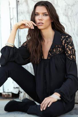 Elan International Lace Shoulder Top