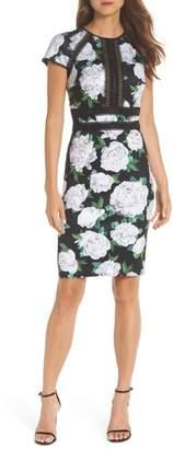 Tadashi Shoji Indigo Floral Neoprene Sheath Dress