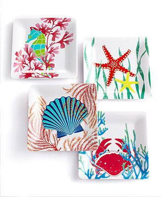 Martha Stewart Collection Set of 4 Coral Sea Melamine Appetizer Plates