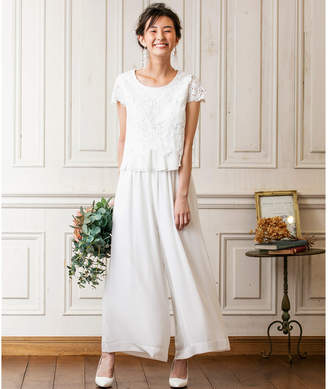 form forma 【結婚式・ウェディングドレス】troisiemechaco/フラワーレースブラウス×シフォンワイドパンツブライダルパンツドレス