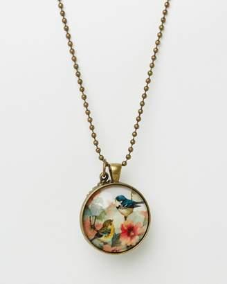 Vintage Bird Pendant with Birdhouse Charm Necklace