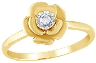 AFFY White Natural Diamond Flower Ring in 14k Gold Over Sterling Silver For Mother Day's Special