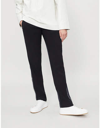 Theory Piped-side mid-rise crepe and satin trousers