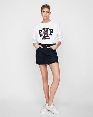 Express Petite Mid Rise Denim Mini Skirt