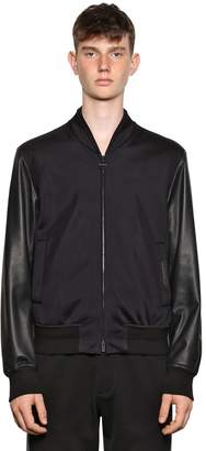 Leather & Technical Bomber Jacket