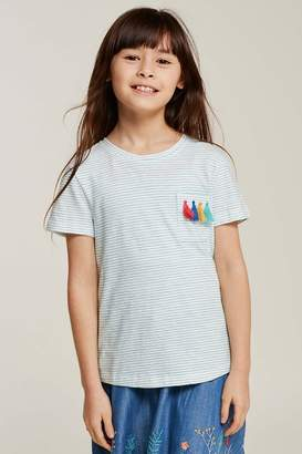 Fat Face Girls FatFace Green Tassle Pocket Stripe Tee - Green