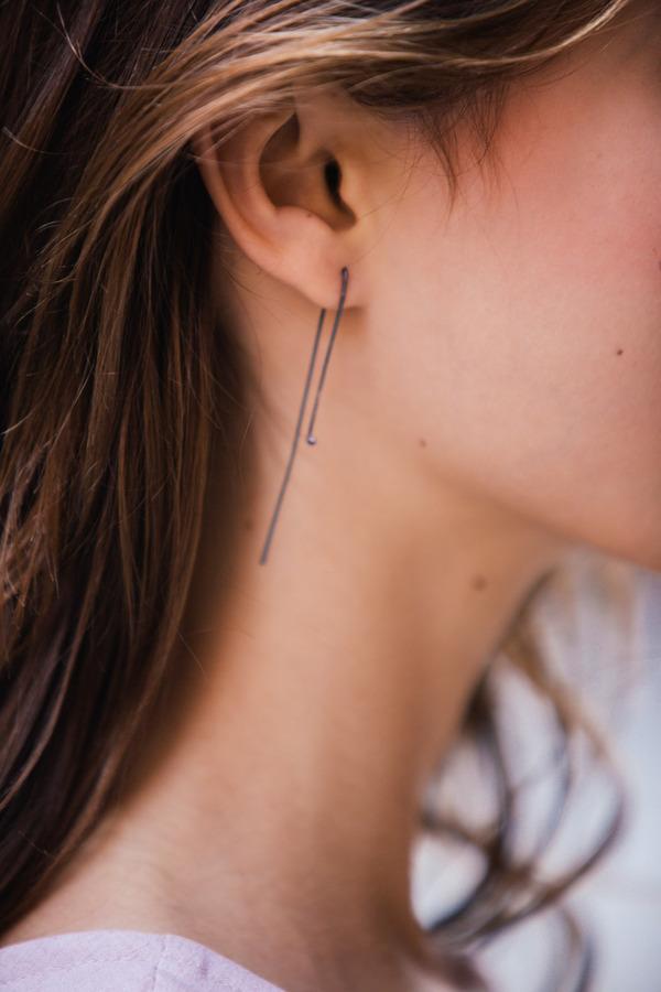 Paper Wings Oxidized Point Earrings