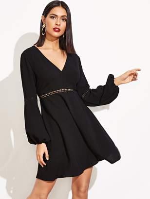 SheinShein Crochet Lace Insert Solid Dress