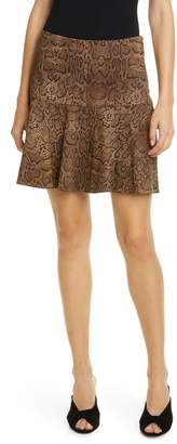 Joie Jamey Snake Print Ruffle Hem Stretch Cotton Skirt