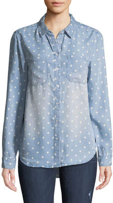 Velvet Heart Astro Polka-Dot Chambray Button-Front Blouse