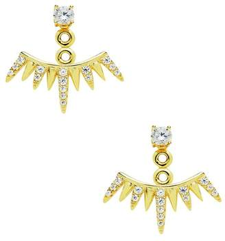 Sterling Forever CZ Spiked Jacket Earrings