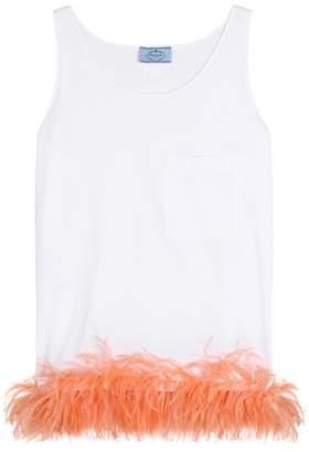 Prada Feather-trimmed sleeveless top