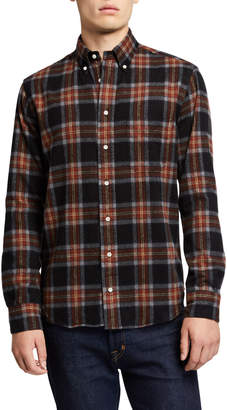 Gitman Brothers Men's Shaggy Brushed Plaid Oxford Sport Shirt