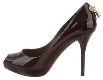 Louis Vuitton Patent Leather Lock Peep-Toe Pumps