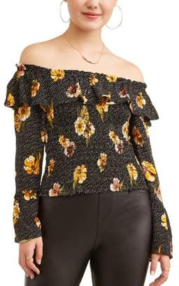 Crave Fame Juniors' Floral Printed Ruffle Off the Shoulder Bell Sleeve Blouse