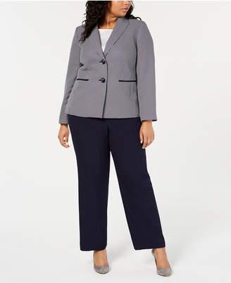 Le Suit Plus Size Two-Button Colorblocked Pantsuit