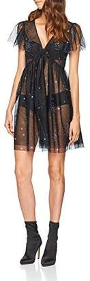 New Look Women's Galaxy Mesh Embellished Skater Party Dress,Size 8
