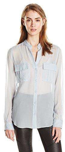 BCBGMAXAZRIA Women's Anderson Button-Front Silk Blouse