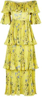 Self-Portrait Pleated Floral Printed Off-Shoulder Gown