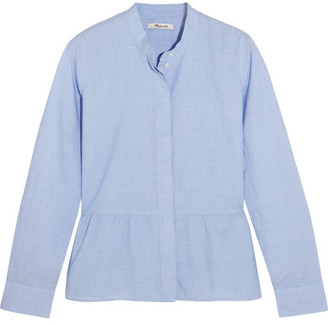 Madewell - Cotton Peplum Shirt - Sky blue $75 thestylecure.com