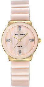 Anne KleinAnne Klein Diamond Accent Light Pink Ceramic Watch