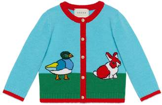 Gucci Baby wool cardigan with intarsia