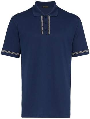 Versace logo tape cotton polo shirt