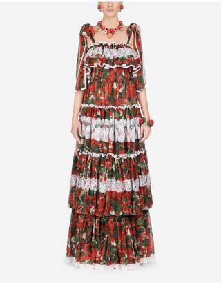 Dolce & Gabbana Long Portofino-Print Chiffon Dress