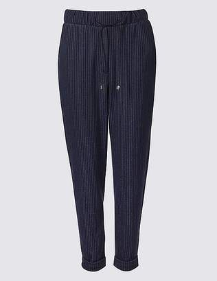 Marks and Spencer Striped Elasticated Waist Tapered Trousers