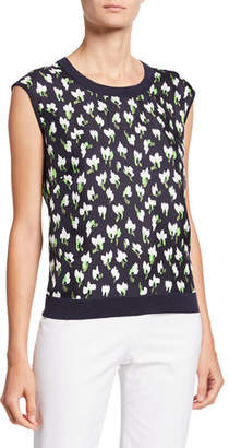 Escada Sleeveless Abstract Floral-Print Knit-Back Sweater