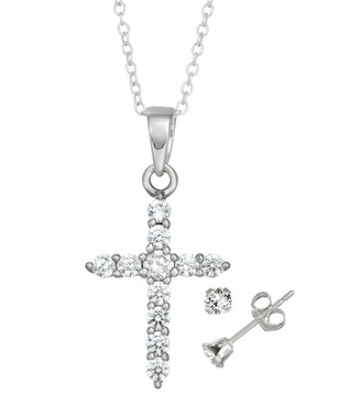Charming Girl Kids' Sterling Silver Cubic Zirconia Cross Pendant & Stud Earring Set