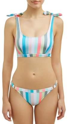 No Boundaries Juniors' Pastel Lines Bralette Swimsuit Top