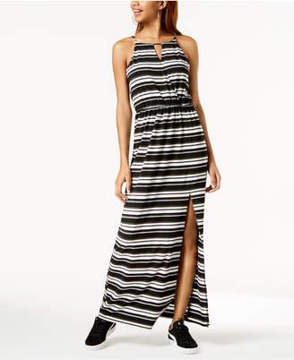BCX Juniors' Striped Side-Slit Maxi Dress