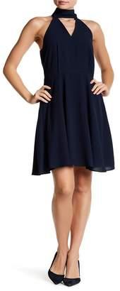 Betsey Johnson Neck Tie Chiffon Fit & Flare Dress
