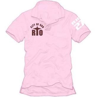 Polo Shirt with Rio City of God Motif S M L XL XXL Pink pink/blue Size:L