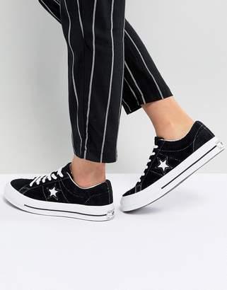 Converse one star black suede sneakers