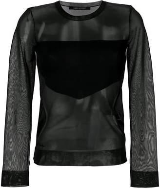 Neil Barrett sheer blouse with geometric panel
